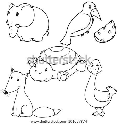 set of cute vector contour animals, fox, crow,  goose, elephant, tortilla, isolated - stock vector