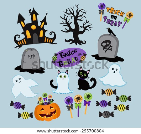 Set of cute vector Halloween elements, objects and icons for your design - stock vector