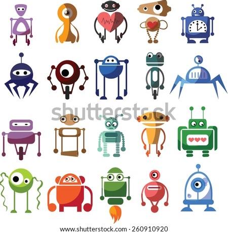 Set of cute vector robots - stock vector