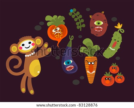 Set of cute vegetables monsters and a monkey. Vector illustration for your background. - stock vector