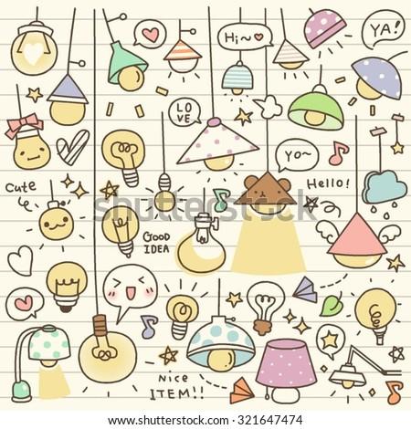 Set of Cute Vintage Bulb Doodle - stock vector