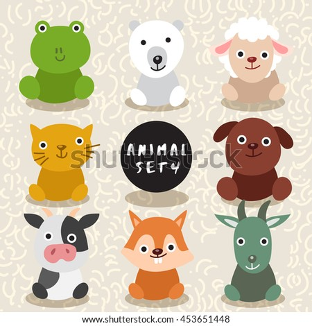 Set of Cute Wild Animal : Vector Illustration