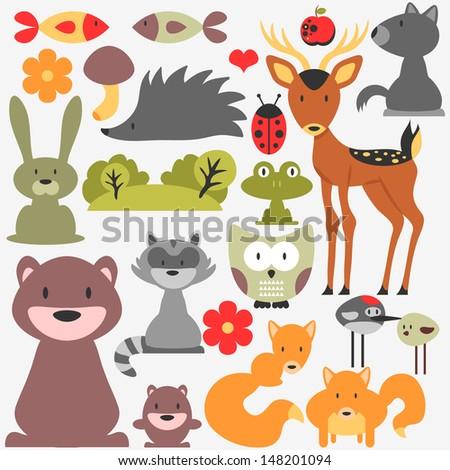 Set of cute wild animals - stock vector