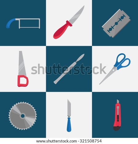 Set of cutting tools. Vector flat color illustrations.