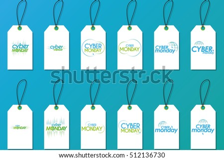 Set of cyber monday labels on a blue background, Vector illustration