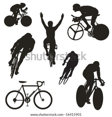 set of cyclist silhouettes - stock vector
