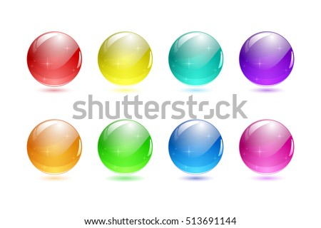Set of 3d ball button. Icon for web. Vector design round sphere with star reflex