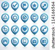 Set of 3d blue Web Icons. Vector illustration. - stock photo