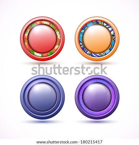 Set of 4 3D buttons of different colors
