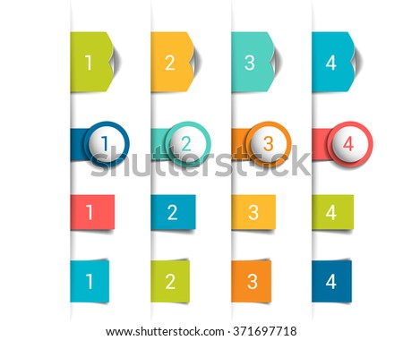 Set of 3D colorful bookmarks, stickers vertical divide. Vector. - stock vector