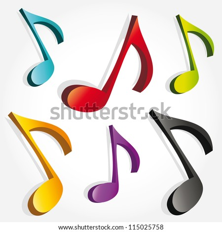 set of 3d colorful music notes - stock vector