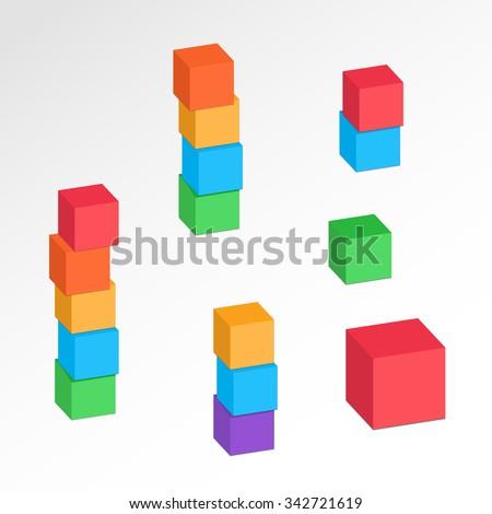 Set 3 d cube combinations compositions tree em vetor stock 342721619 set of 3d cube combinations compositions of tree five blocks association union ccuart Images