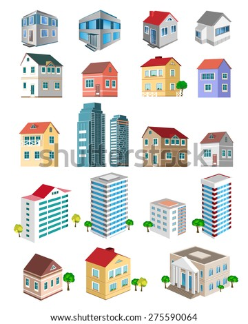 Set of 3d detailed buildings with different types of perspective: skyscrapers, real estate houses - stock vector