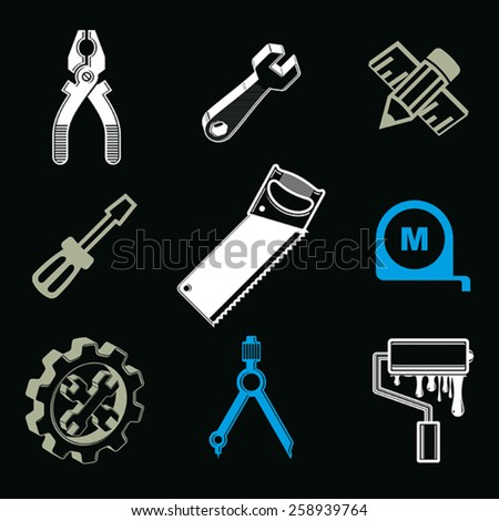 Set of 3d detailed tools, repair theme stylized graphic elements isolated on white. Collection of classic work tools, industry icons. - stock vector