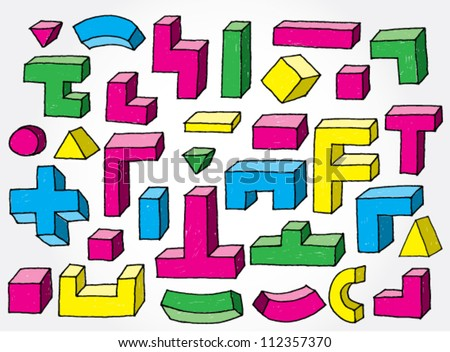 Set of 3D Elements Colourful Hand Drawn - stock vector