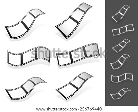 Set of 3d Filmstrips with gray fillings with different distortions. Silhouette versions included. - stock vector