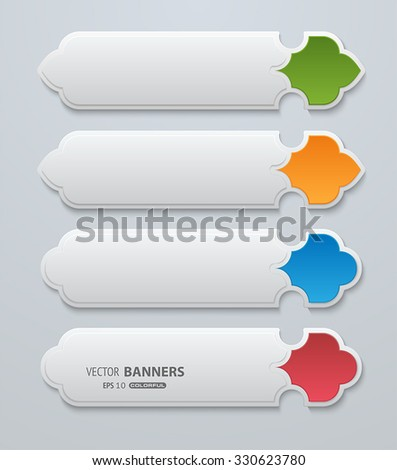 Set of 3d greyscale banners with colorful ornamental items
