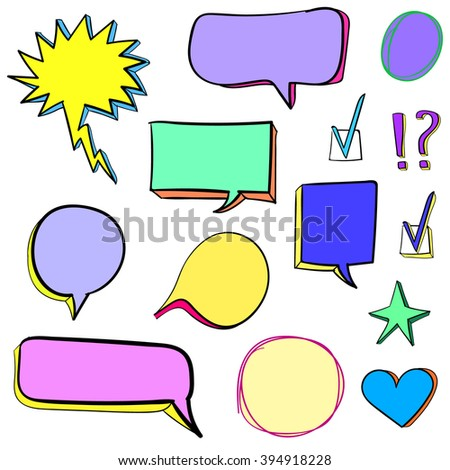 Set of 3d hand drawn icons: check mark, star, heart, speech bubbles. VECTOR. Colorful set of hand drawn icons. Yellow, turquoise, light purple, blue, green, pink. - stock vector