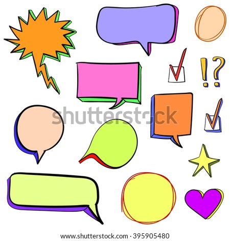 Set of 3d hand drawn icons: check mark, star, heart, speech bubbles. VECTOR. Colorful set of hand drawn icons; orange, purple, pink, yellow-green, magenta colors. - stock vector
