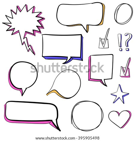 Set of 3d hand drawn icons: check mark, star, heart, speech bubbles. VECTOR. Colorful set of hand drawn icons. White and pink, orange, blue.  - stock vector