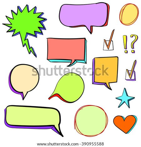 Set of 3d hand drawn icons: check mark, star, heart, speech bubbles. VECTOR. Colorful set of icons  - stock vector