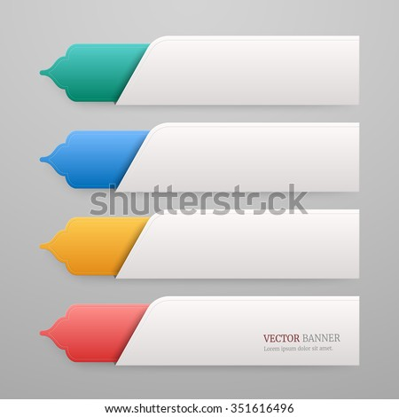 Set 3d Infographic Tab Template Islamic Stock Vector 351616496 ...