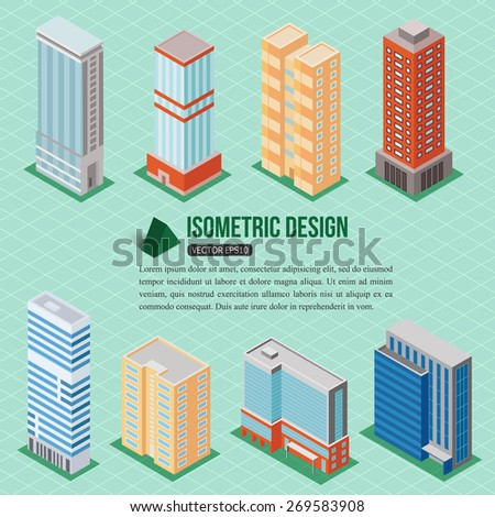 Set of 3d isometric tall buildings icons for map building. Real estate concept. Vector illustration. - stock vector