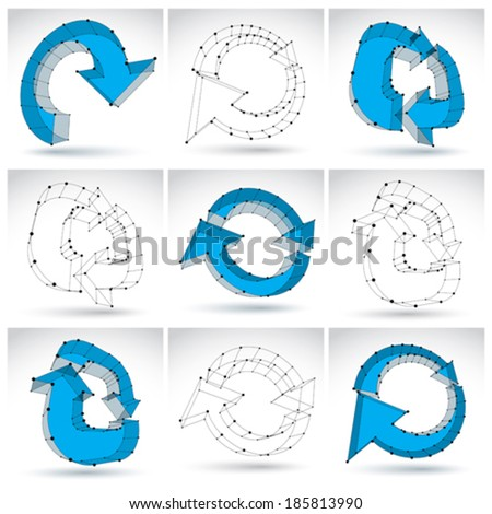 Set of 3d mesh monochrome update icons isolated on white background, elegant lattice blue renew signs, carcass dimensional tech refresh symbols, clear eps 8 vector illustrations. - stock vector