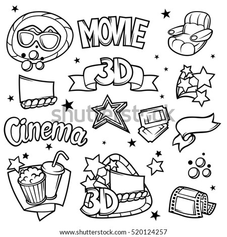 Set of 3d movie design elements and cinema objects in cartoon style.