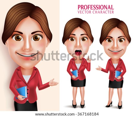 Set of 3D Realistic Good Looking Professional School Teacher Vector Character Smiling Holding Books while Talking Isolated in White Background. Vector Illustration - stock vector