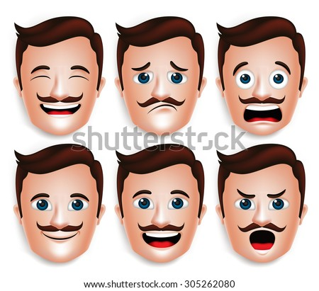 Set of 3D Realistic Handsome Man Head with Different Facial Expressions With Mustache for Avatar. Isolated in White Background Editable Vector Illustration - stock vector