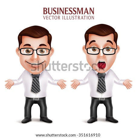 Set of 3D Realistic Professional Business Man Character Shocked and Surprised Posture Isolated in White Background. Vector Illustration  - stock vector