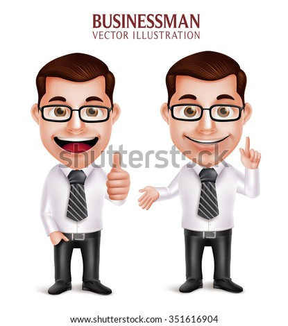 Set of 3D Realistic Professional Business Man Character with Pointing and OK Hand Gesture Isolated in White Background. Vector Illustration  - stock vector