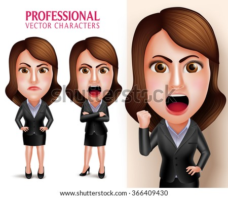 Set of 3D Realistic Professional Business Woman Vector Character Angry and Mad Like a Boss with Crossed Arms Isolated in White Background. Vector Illustration  - stock vector