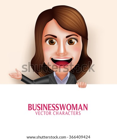 Set of 3D Realistic Professional Business Woman Vector Character with Friendly Smile Holding Empty White Board with Space for Message Isolated in White Background. Vector Illustration  - stock vector