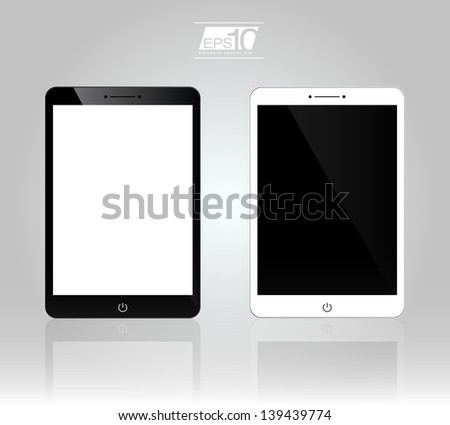 Set of 3D Realistic Tablet PC Computer Template (White and Black Variation) | EPS10 Vector Tablet Design Illustration - stock vector