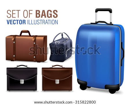 Set of 3D Realistic Traveling Bags and Briefcase for Design Elements. Vector Illustration  - stock vector