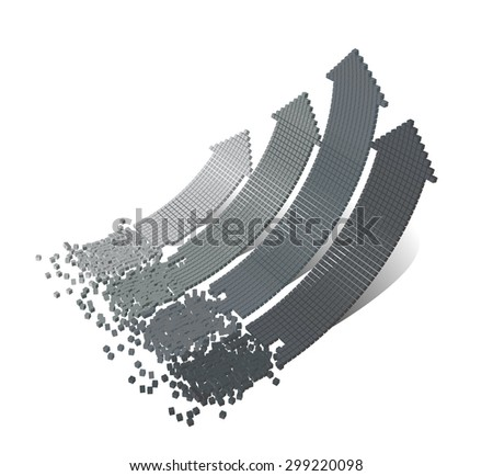 Set of 3d vector bended arrows with perspective pointing to the up right, consisted from small cubic elements, isolated on white background, business vector background, infographic diagram elements - stock vector