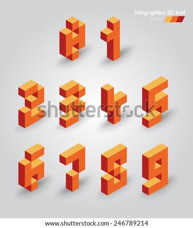 Set of 3d vector pixel numbers - stock vector