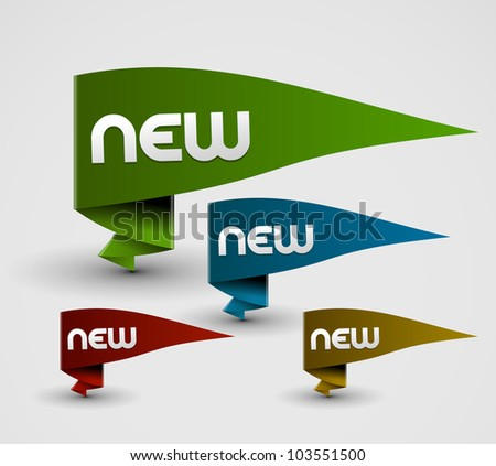 set of 3d vector ribbon for your text. - stock vector