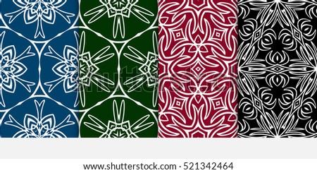 set of Damask floral seamless pattern background. Luxury texture for wallpaper, invitation. Vector illustration. color