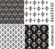 Set of 4 Damask seamless floral pattern. Vintage vector illustration. - stock vector