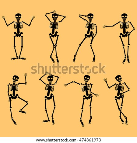 Set of dancing skeletons isolated on orange