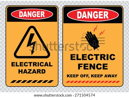 set of Danger High Voltage signs (danger electrical hazard, danger electric fence, keep off, keep away)  - stock vector