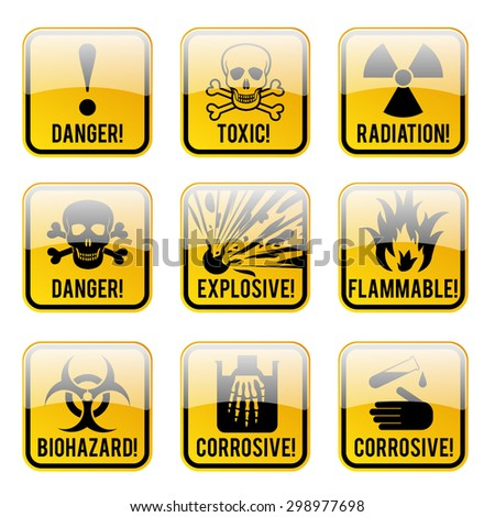 Set of danger restricted and hazards signs button,  vector illustration - stock vector