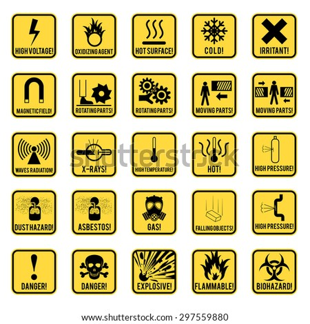 Set of danger restricted and hazards signs icon,  vector  illustration - stock vector