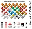 set of dangerous goods placards on white background - stock vector