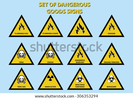set of dangerous goods signs. vector illustration - stock vector