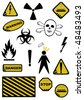 Set of Dangers signs. Vector objects on white background - stock photo