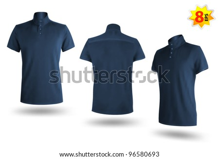 Set of dark blue male Polo shirts template. Mesh and gradients design. - stock vector